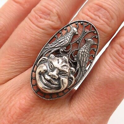 Antique Art Deco Sterling Silver Laughing Devil Bird Handmade Collectible Ring