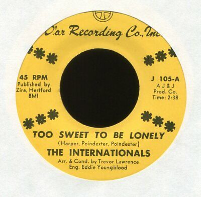 THE INTERNATIONALS Too Sweet to Be Lonely on D'Ar Crossover Soul 45 VG++ Hear