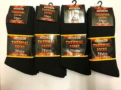Mens Black Thermal brushed inside Thick Warm Work Boot Socks 6-11