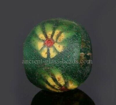 Genuine ancient Roman beads: mosaic glass bead with flower, 2 century, Egypt