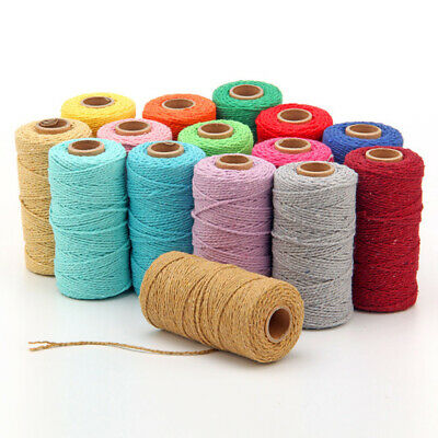 100% Natural 19 Colour Cotton Twisted Cord Craft Macrame Artisan String