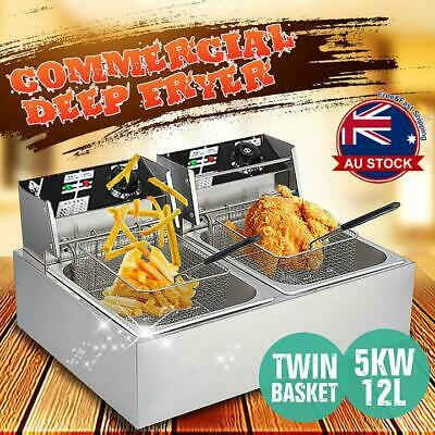 Commercial Electric 5000W Countertop Deep Fryer Twin Frying Basket Chip Cooker D