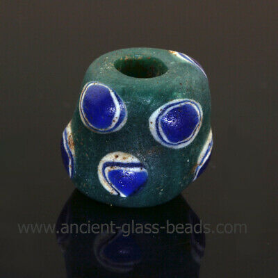 Ancient glass beads: genuine ancient Roman bead with layered eyes, 1 century