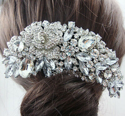Bridal Hair Comb Floral Silver Shining Austrian Crystal Prom Jewelry Accessory