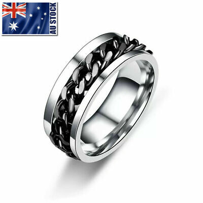 Titanium Stainless Steel 8mm Spinner Ring Curb Chain Men Women Band Size 10