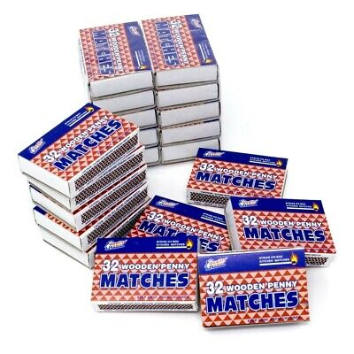 Quality Home Strike on Box Matches 32 Count (Pack of 20) 640 Wooden Penny Match