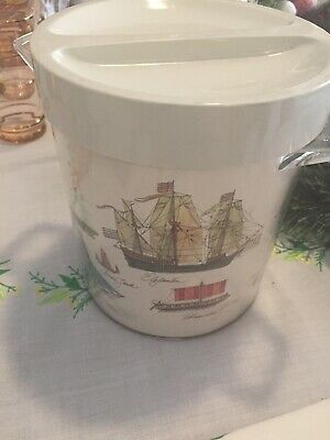 1970s 70s Ice Bucket Ships Nautical Made In Australia Retro Vintage Nautical