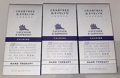 (3) Crabtree & Evelyn Lavender & Espresso Hand Therapy 3.5 oz Each