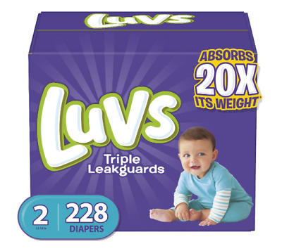 Baby Diapers Luvs Ultra Leakguards Disposable Diaper Size 2, 12-18 lb, 228 Count