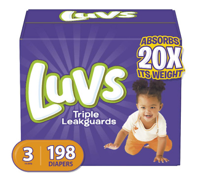 Baby Diapers Luvs Ultra Leakguards Disposable Diaper Size 3, 16-28 lb, 198 Count