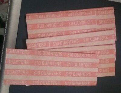 100 Quarter Twenty Five Cent Flat Paper Pop-Open Coin Wrappers Tubes Free S/h