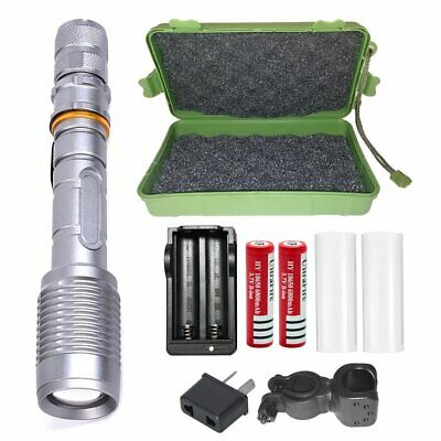 20000LM SHADOWHAWK LED Silver FLASHLIGHT RECHARGEABLE TACTICAL TORCH 2x BATTERY