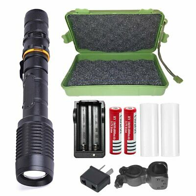 20000lm Shadowhawk LED Black Flashlight Rechargeable Torch 2x Battery