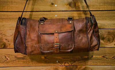 """24""""Real Leather Large Travel Hand Luggage Duffel Gym Weekend Carry-On tote Bag"""