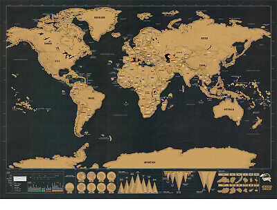 Scratch Off Map of The World Detailed Travel Art Poster Two Size