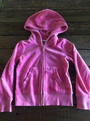 Juicy Couture Hot Pink Girls xs Velour Zip Up Sweater