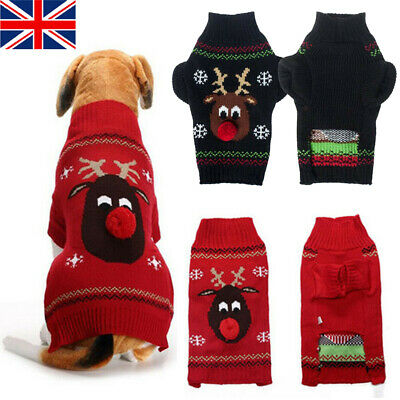 Pet Dog Sweater Reindeer Christmas Small Large Xmas Pet Puppy Cat Jumper Clothes