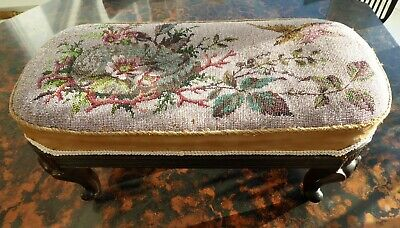 Victorian Beadwork Stool Depicting Bird And Flowers Free  Shipping To England
