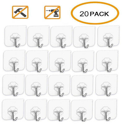 20PCS Adhesive Sticky Hooks Heavy Duty Wall Seamless Transparent Hooks