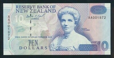 "New Zealand: 1993 $10 Brash Type III SCARCE 1ST PREFIX ""AA"". UNC Cat $70"