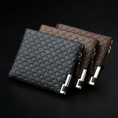 Mens Luxury Leather Soft Wallet Credit Card Cash Coin Holder Purse With Zipper