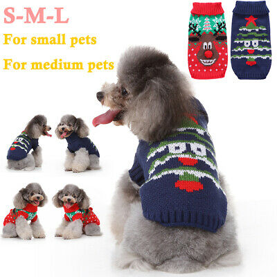 Pet Dog Cat XMAS Christmas Winter Warm Sweater Coat Knit Jacket Jumper Clothes