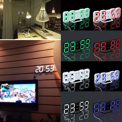3D LED Digital Numbers Table, Wall Clock Large Digit Display Alarm Snooze Clock