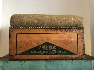 ANTIQUE VINTAGE UPHOLSTERED WOODEN FOOT STOOL CRATE BOX - very unique