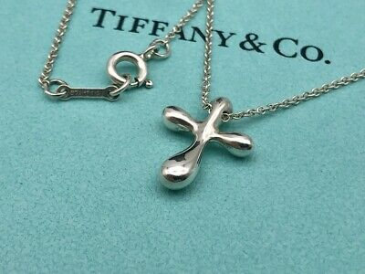 "Authentic Tiffany & Co. Necklace Elsa Peretti Cross Sterling Silver 16"" S28"