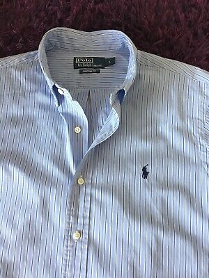 Super Cool 100% Genuine Ralph Lauren Custom Fit Striped Shirt In Large