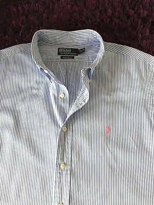 Super Cool 100% Genuine Mens Ralph Lauren Custom Fit S/S Stripe Shirt In XL
