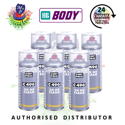 HB Body Professional 2K Clear Coat Lacquer 400ml Clearcoat 6 x Aerosol Car