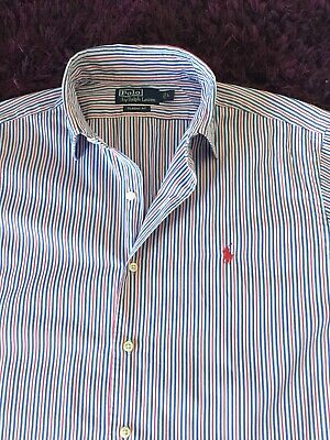 Smart 100% Genuine Mens Ralph Lauren Classic Fit Striped Shirt In Large