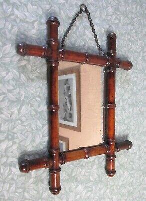 """ANTIQUE c1910s French 12.5"""" x 15"""" TURNED WOOD FOXED WALL MIRROR 32 x 38 cm"""