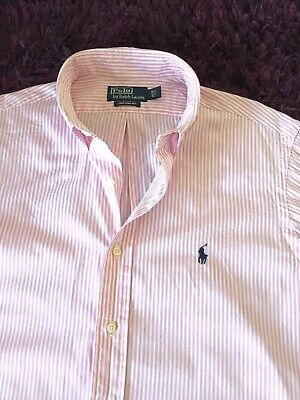 Super Cool 100% Genuine Ralph Lauren Custom Fit Stripe Shirt In Large