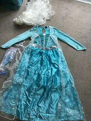 Girls Disney Frozen Elsa Dress With Wig Age 9-10 Years Worn Once