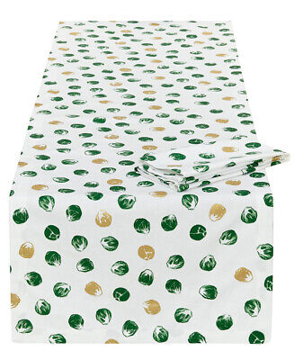 John Lewis Christmas Brussel Sprouts Table Runner & 4 Napkins set NEW BNWT