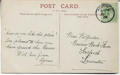 HASTINGS CANCEL ON  1906 KING EDWARD VII ½d GREEN POSTCARD REF 2893
