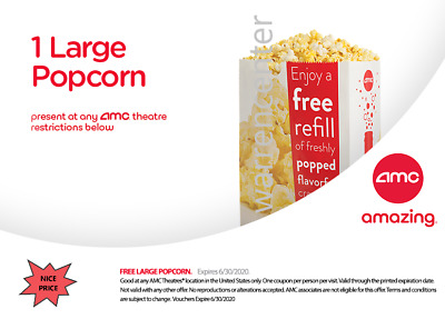 One (1) LARGE Popcorn for use at AMC Theaters (expires 6/30/2020); NICE PRICE!