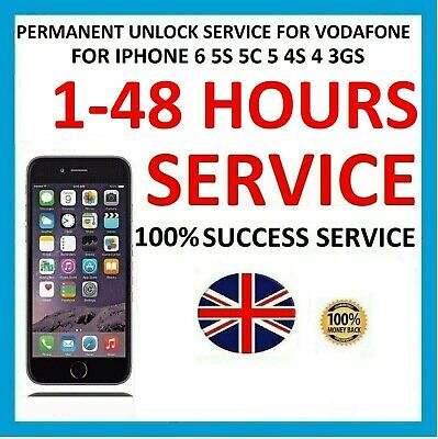 Permanent Factory Unlock Service For Iphone 6 5S 5C 5 4S 4 3GS Vodafone UK