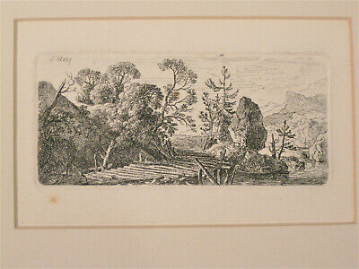 Very Nice Small Engraving of Rustic Wooden Bridge in Mountainous Area