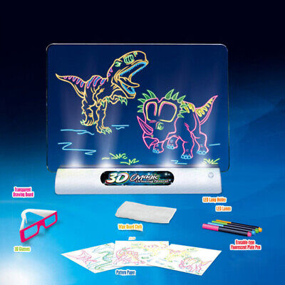 Magic 3D Drawing Pad LED Light Glow Art Writing Puzzle Board Toy Gifts for Kids
