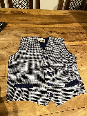 VINTAGE CHILDRENS BLUE CHECK WOOL BLEND WAISTCOAT Deadstock RETRO AGE 8