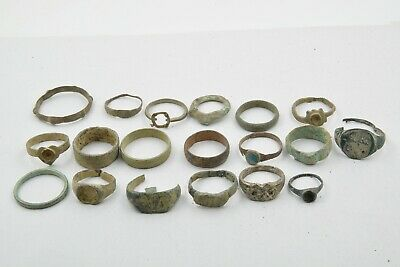 Lot of 19 Roman to Byzantine bronze rings 100-800 AD