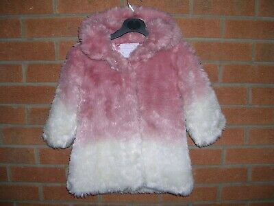 MATALAN Girls Pink Cream Shaggy Faux Fur Coat Hooded Winter Jacket Age 2-3 98cm