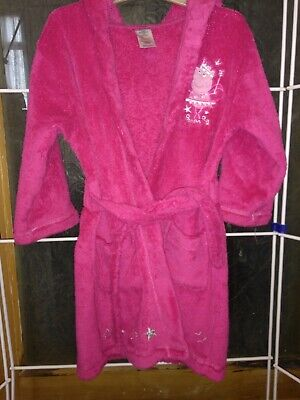 Pink Peppa Pig dressing gown with embroided motifs.  Size 2-3 years