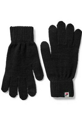 Fila Unisex Touch Screen Phone Tablet Warm Knitted Black Branded Winter Gloves
