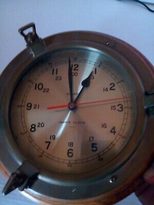 Ship's Clock Bell Clock Co Quartz Brass/Oak USA