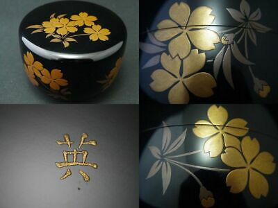 Japanese WAJIMA Lacquer Wooden Tea caddy SAKURA makie Hira-Natsume Rare (1202)