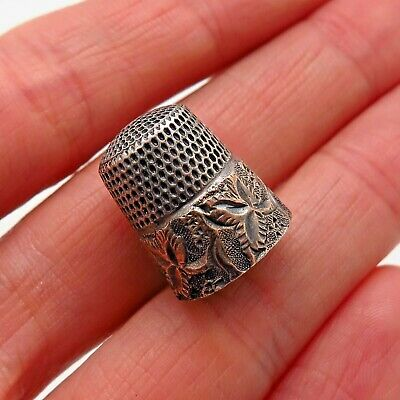 Simons Brothers Antique Victorian Sterling Silver Two Tone Floral Sewing Thimble